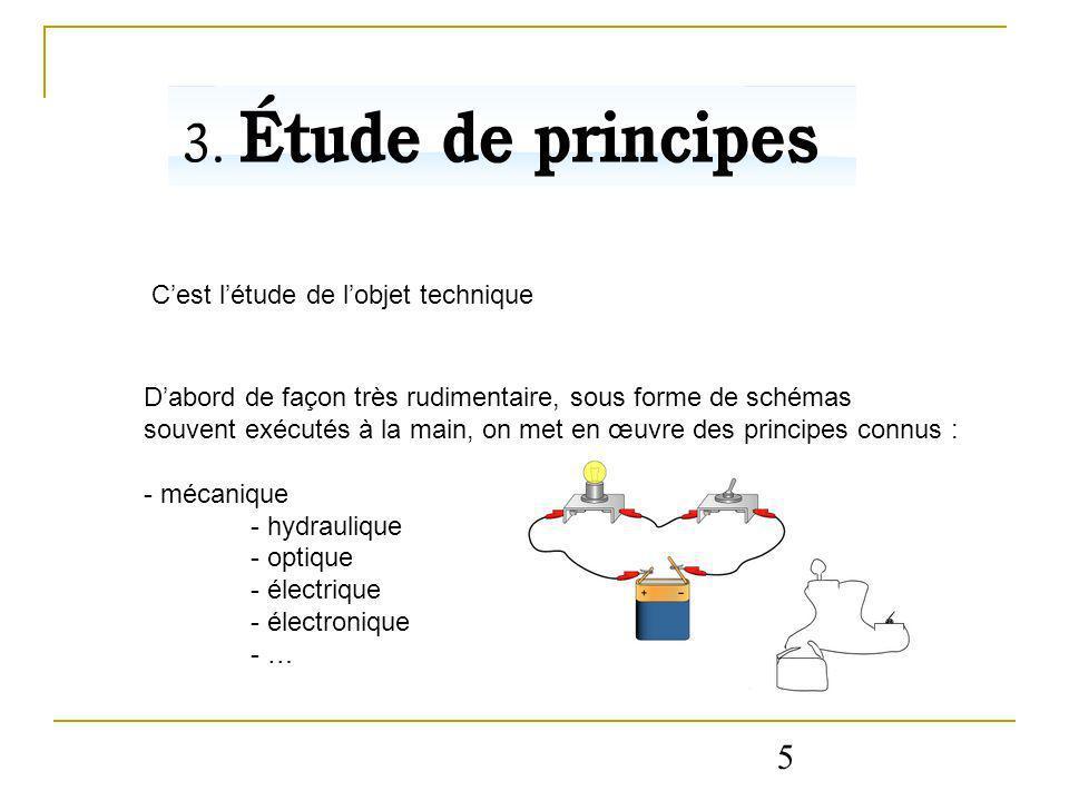 5 Cest létude de lobjet technique Dabord de façon très rudimentaire, sous forme de schémas souvent exécutés à la main, on met en œuvre des principes c