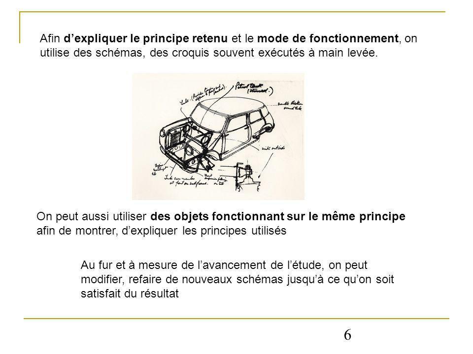 6 Afin dexpliquer le principe retenu et le mode de fonctionnement, on utilise des schémas, des croquis souvent exécutés à main levée. On peut aussi ut