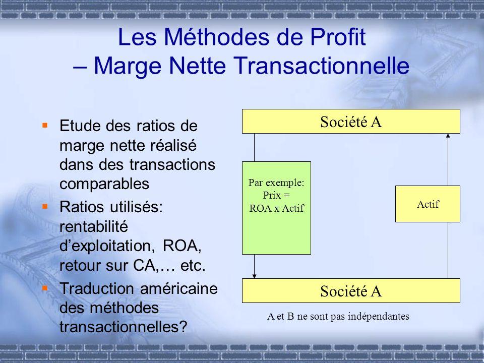 Les Méthodes de Profit – Marge Nette Transactionnelle Etude des ratios de marge nette réalisé dans des transactions comparables Ratios utilisés: renta