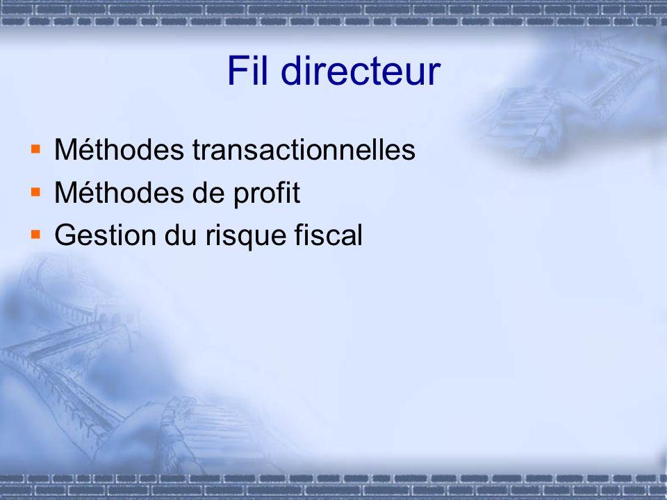 Fil directeur Méthodes transactionnelles Méthodes de profit Gestion du risque fiscal