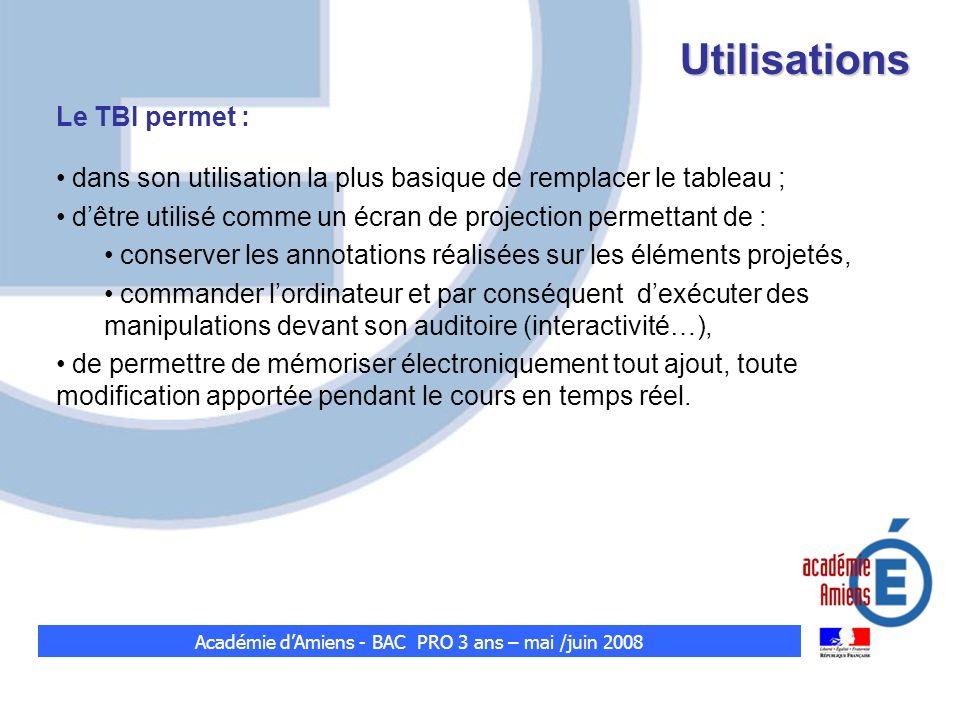 Utilisations Le TBI permet : dans son utilisation la plus basique de remplacer le tableau ; dêtre utilisé comme un écran de projection permettant de :