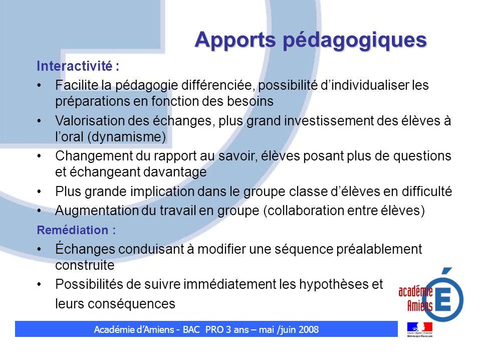Apports pédagogiques Interactivité : Facilite la pédagogie différenciée, possibilité dindividualiser les préparations en fonction des besoins Valorisa