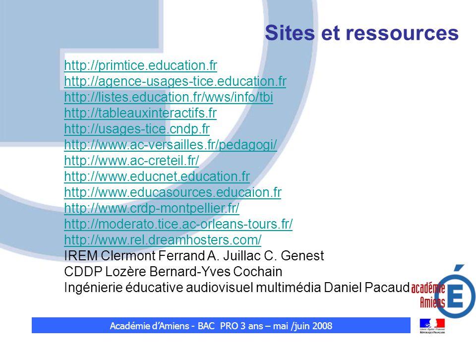 Sites et ressources http://primtice.education.fr http://agence-usages-tice.education.fr http://listes.education.fr/wws/info/tbi http://tableauxinterac