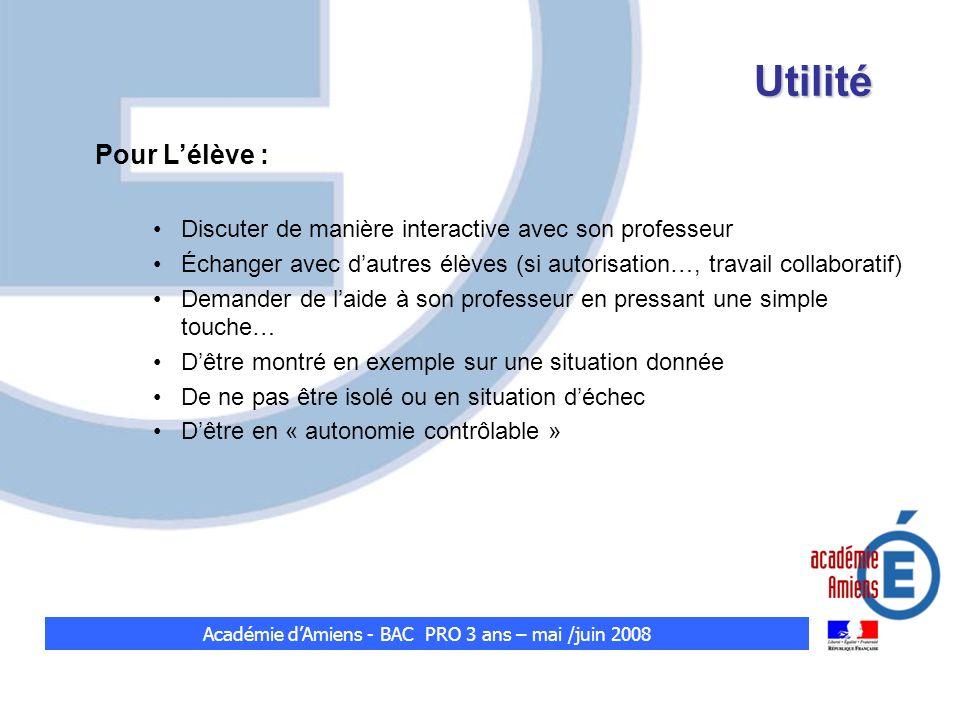 Utilité Pour Lélève : Discuter de manière interactive avec son professeur Échanger avec dautres élèves (si autorisation…, travail collaboratif) Demand