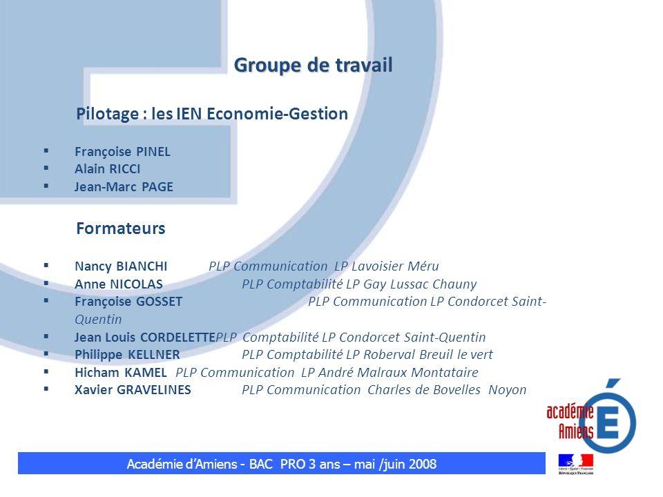 Groupe de travail Pilotage : les IEN Economie-Gestion Françoise PINEL Alain RICCI Jean-Marc PAGE Formateurs Nancy BIANCHI PLP Communication LP Lavoisi