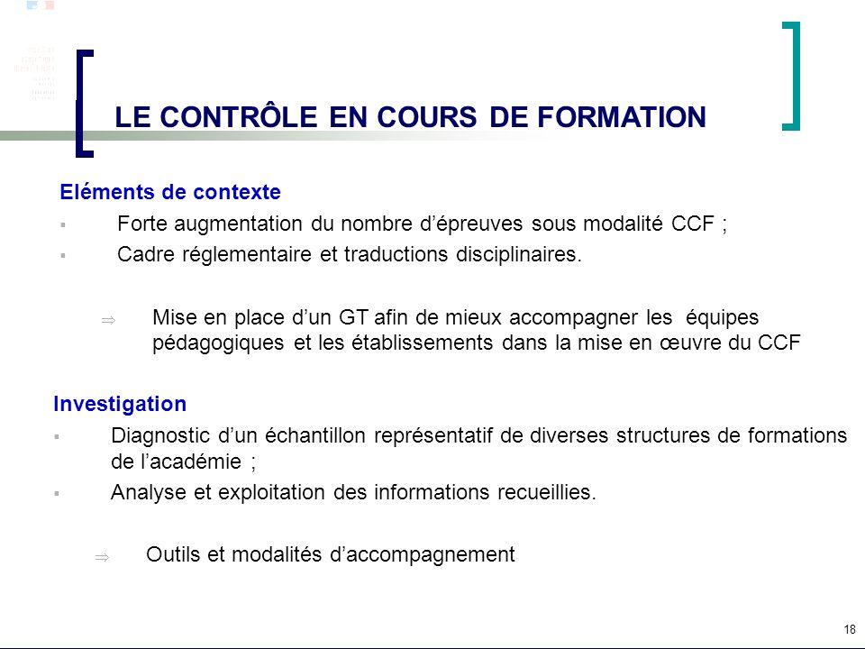 18 LE CONTRÔLE EN COURS DE FORMATION Eléments de contexte Forte augmentation du nombre dépreuves sous modalité CCF ; Cadre réglementaire et traduction