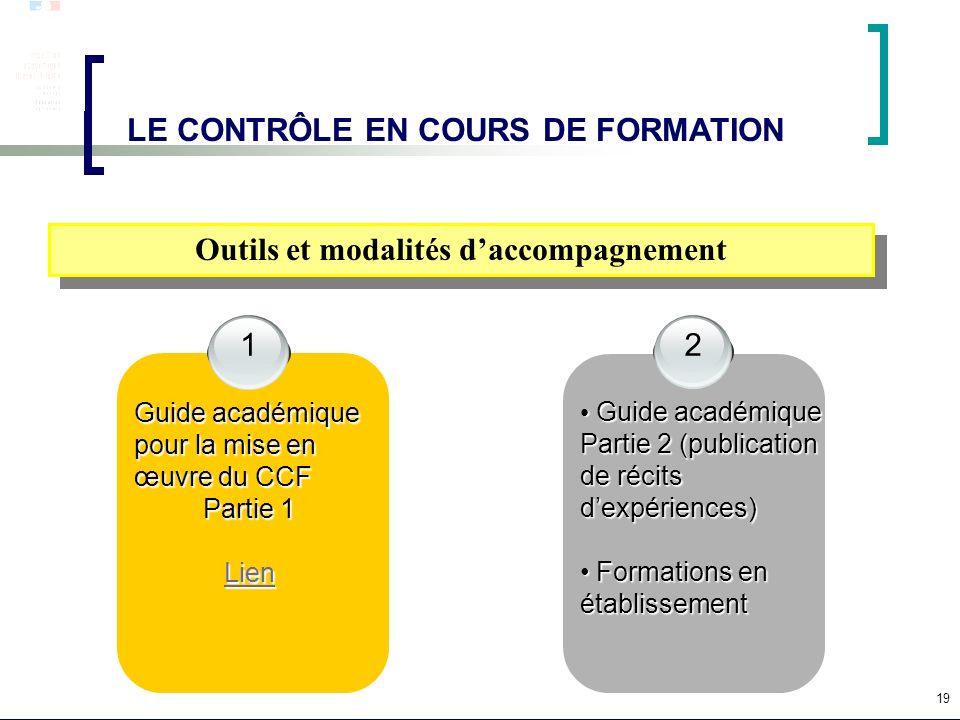 19 LE CONTRÔLE EN COURS DE FORMATION Outils et modalités daccompagnement 1 Guide académique pour la mise en œuvre du CCF Partie 1 Lien 2 Guide académi