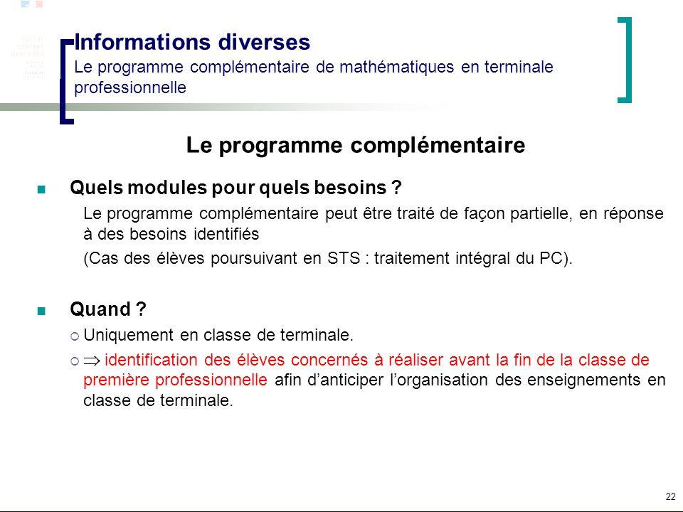 22 Informations diverses Le programme complémentaire de mathématiques en terminale professionnelle Le programme complémentaire Quels modules pour quel