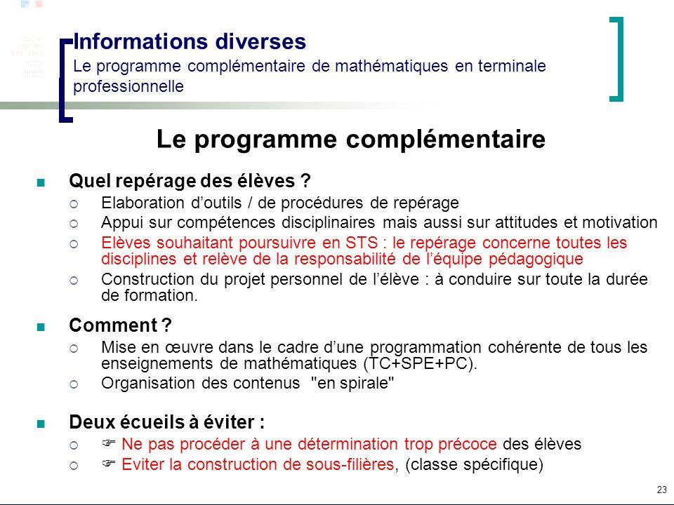 23 Informations diverses Le programme complémentaire de mathématiques en terminale professionnelle Le programme complémentaire Quel repérage des élève