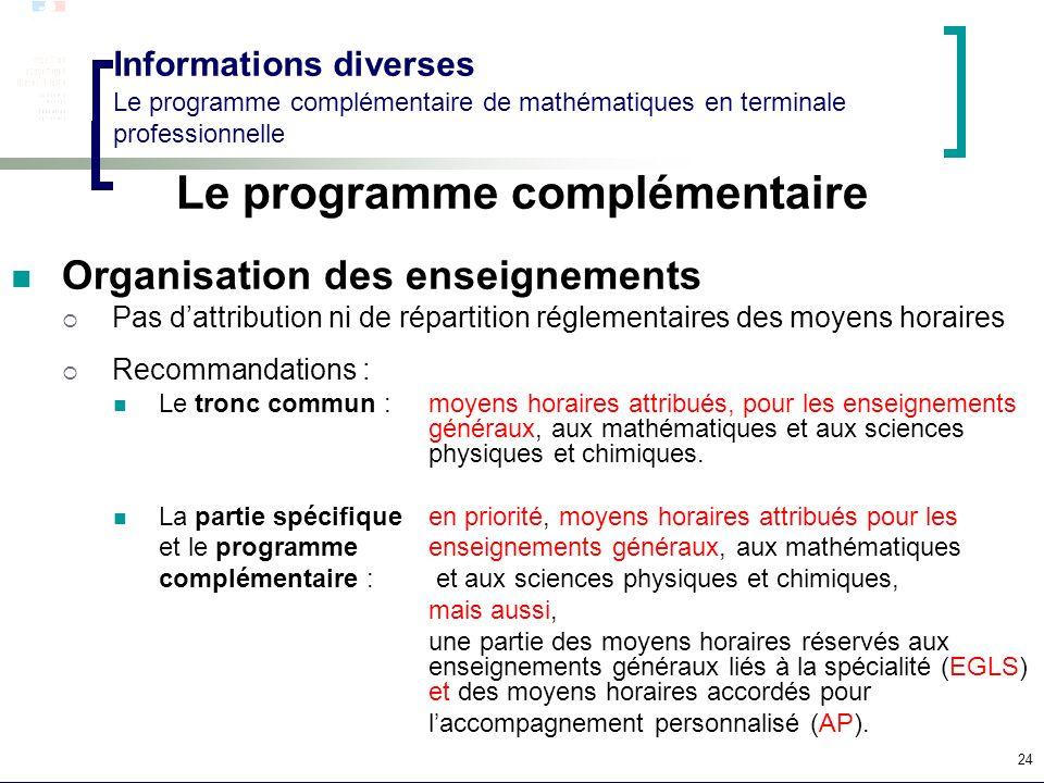 24 Informations diverses Le programme complémentaire de mathématiques en terminale professionnelle Le programme complémentaire Organisation des enseig