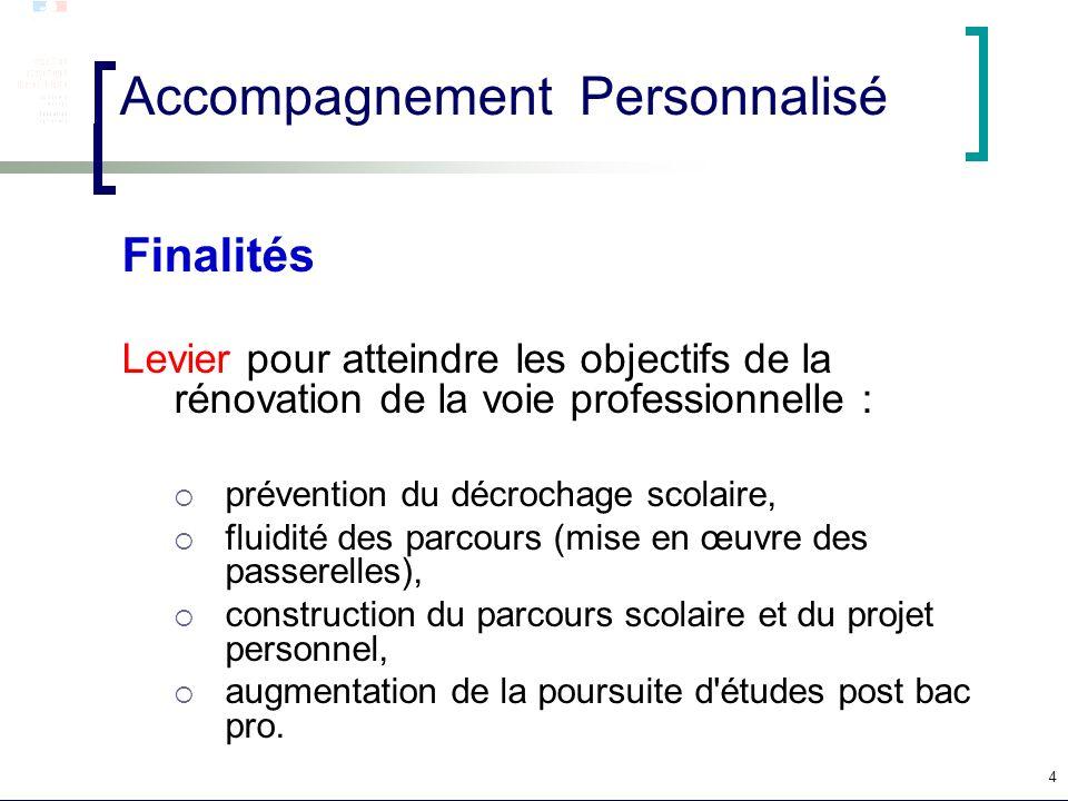 4 Accompagnement Personnalisé Finalités Levier pour atteindre les objectifs de la rénovation de la voie professionnelle : prévention du décrochage sco