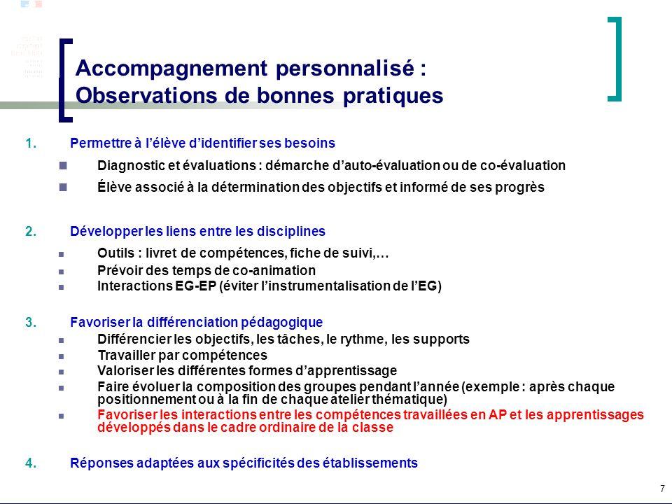 7 Accompagnement personnalisé : Observations de bonnes pratiques 1.Permettre à lélève didentifier ses besoins Diagnostic et évaluations : démarche dau