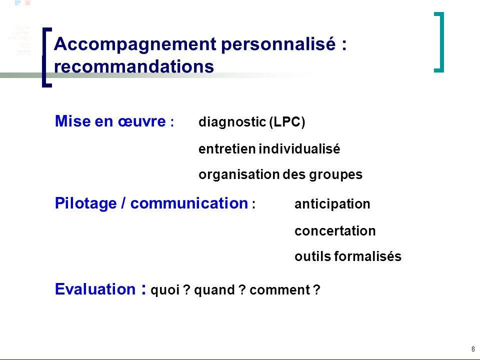 8 Accompagnement personnalisé : recommandations Mise en œuvre : diagnostic (LPC) entretien individualisé organisation des groupes Pilotage / communica