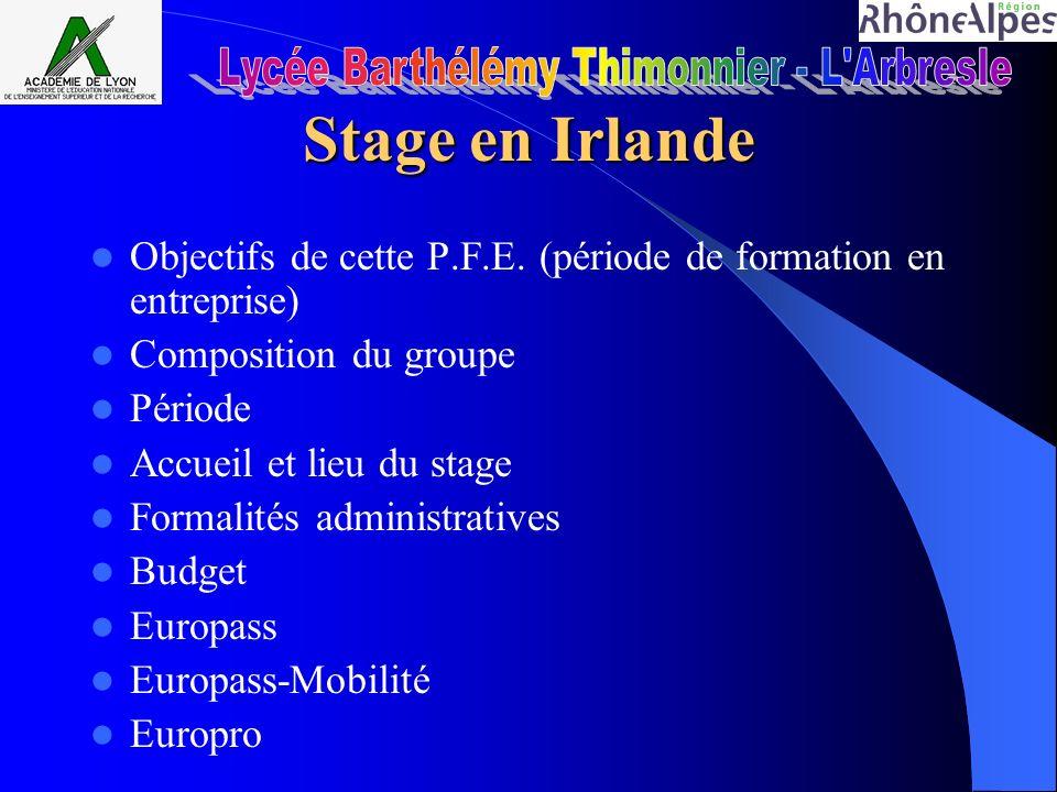 Stage en Irlande Objectifs de cette P.F.E. (période de formation en entreprise) Composition du groupe Période Accueil et lieu du stage Formalités admi