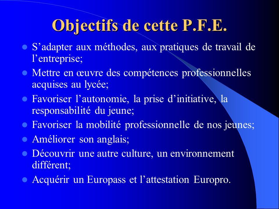 Objectifs de cette P.F.E. Sadapter aux méthodes, aux pratiques de travail de lentreprise; Mettre en œuvre des compétences professionnelles acquises au