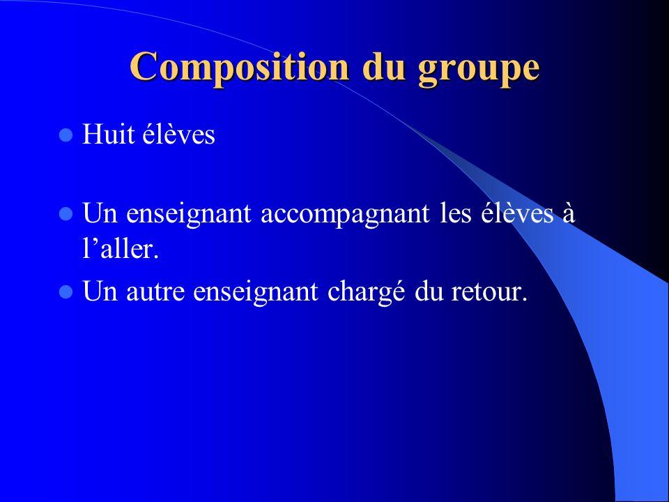 Composition du groupe Huit élèves Un enseignant accompagnant les élèves à laller. Un autre enseignant chargé du retour.