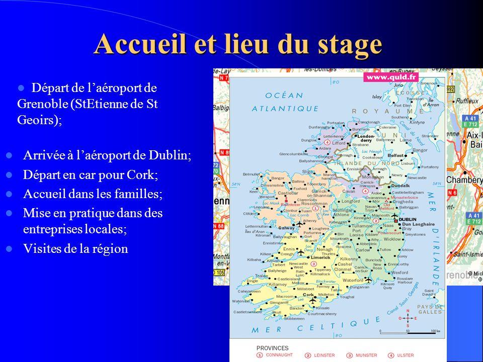 Accueil et lieu du stage Arrivée à laéroport de Dublin; Départ en car pour Cork; Accueil dans les familles; Mise en pratique dans des entreprises loca