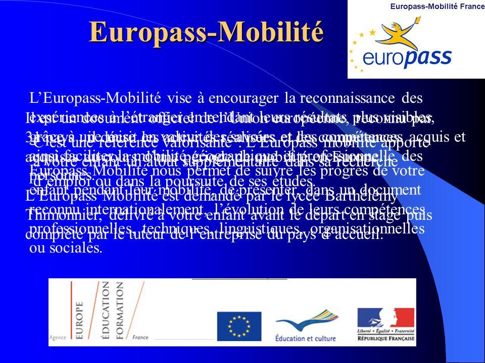 Europass-Mobilité LEuropass-Mobilité vise à encourager la reconnaissance des expériences à létranger en rendant leurs résultats plus visibles, grâce à