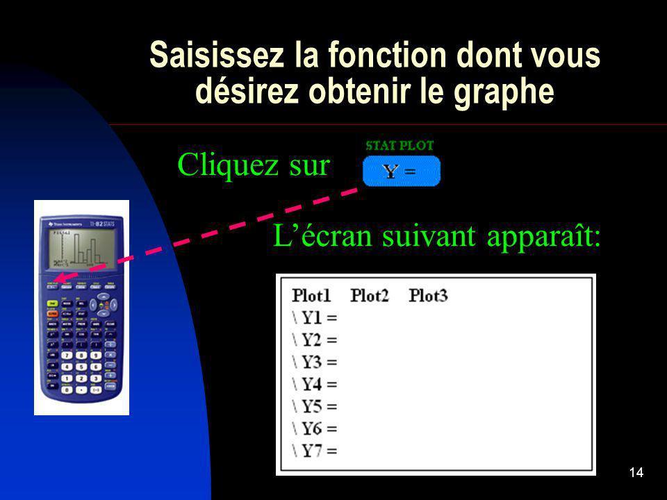 14 Saisissez la fonction dont vous désirez obtenir le graphe Cliquez sur Lécran suivant apparaît: