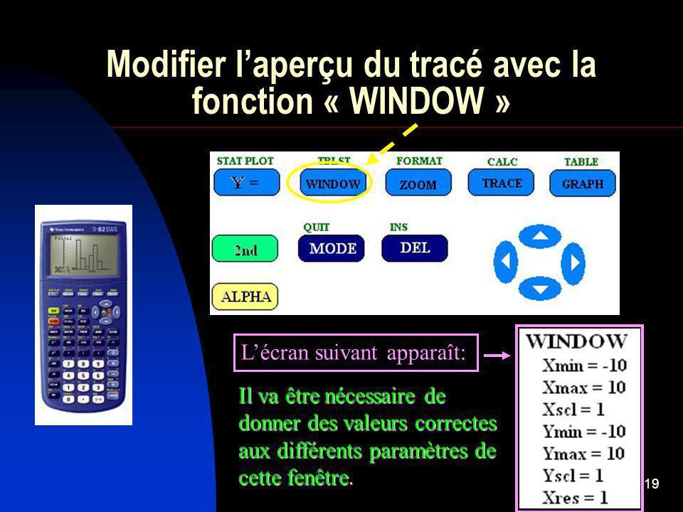 19 Modifier laperçu du tracé avec la fonction « WINDOW » Lécran suivant apparaît: Il va être nécessaire de donner des valeurs correctes aux différents paramètres de cette fenêtre.