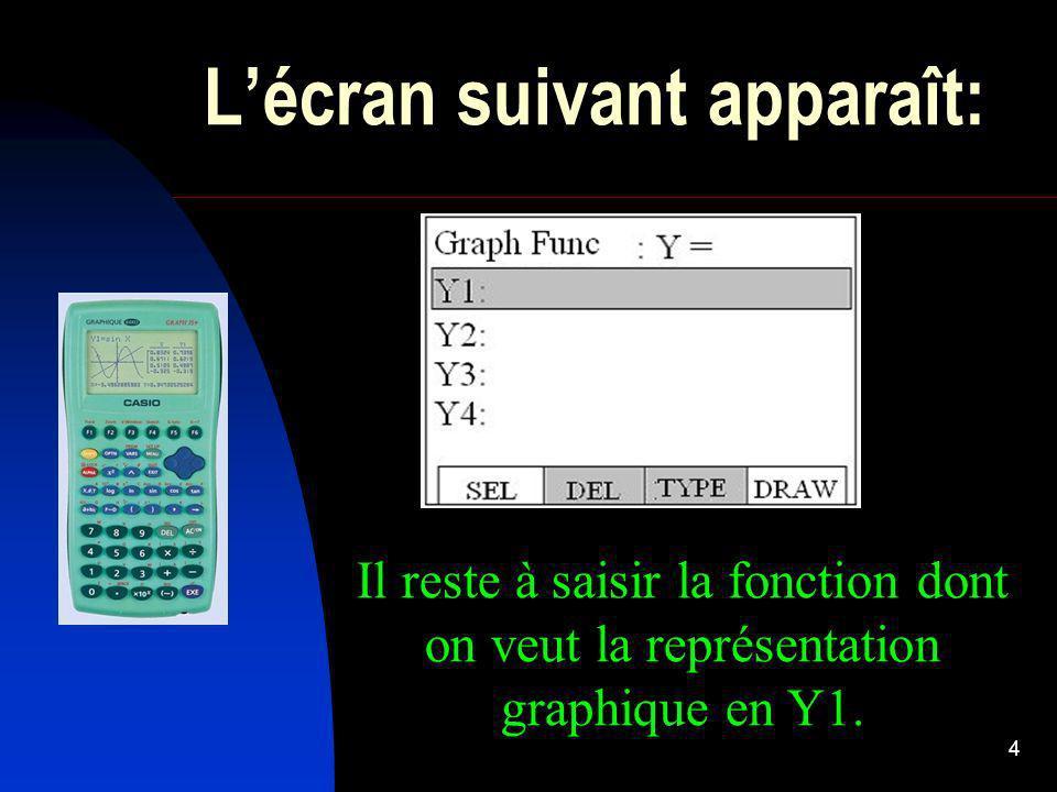 4 Lécran suivant apparaît: Il reste à saisir la fonction dont on veut la représentation graphique en Y1.