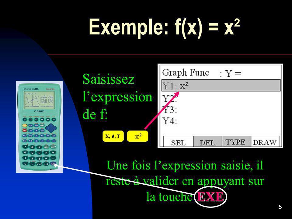 6 Afficher le graphe Cliquez en bas de lécran sur F4 ou F6 ( ) pour activer la commande DRAW.
