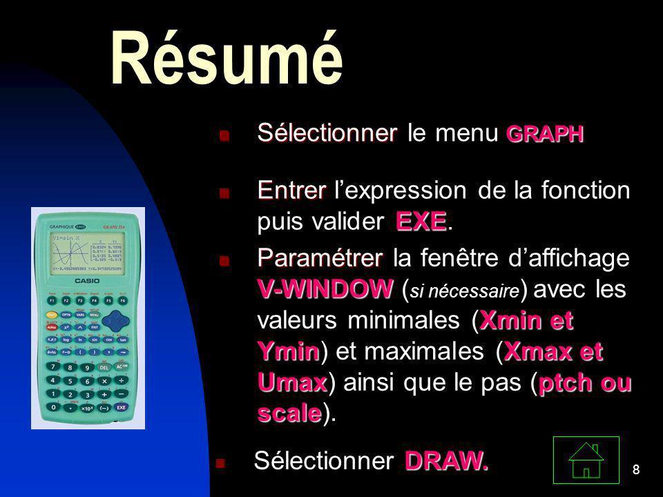 8 Résumé Sélectionner GRAPH Sélectionner le menu GRAPH Entrer EXE Entrer lexpression de la fonction puis valider EXE. Paramétrer V-WINDOW Xmin et Ymin