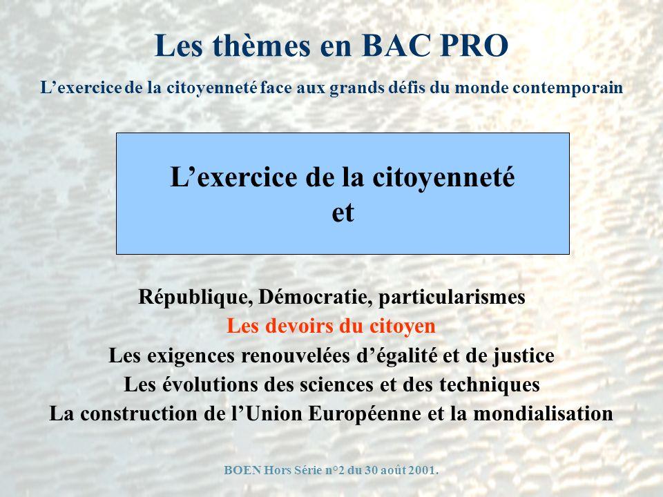 Les thèmes en BAC PRO Lexercice de la citoyenneté face aux grands défis du monde contemporain République, Démocratie, particularismes Les devoirs du c