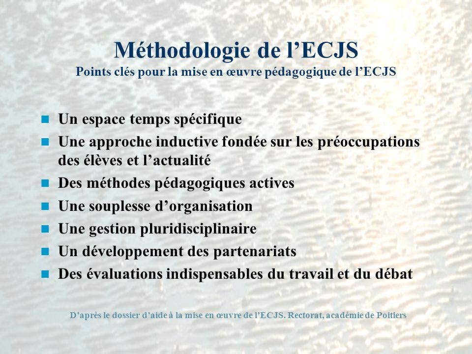 Méthodologie de lECJS Points clés pour la mise en œuvre pédagogique de lECJS Un espace temps spécifique Une approche inductive fondée sur les préoccup