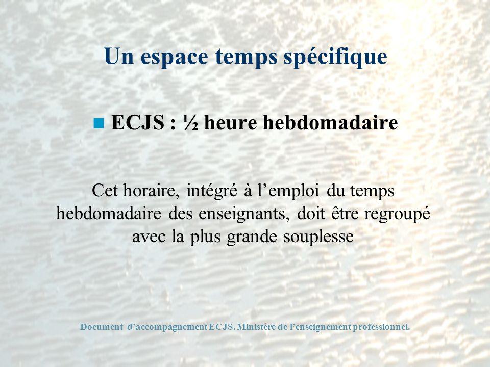 Un espace temps spécifique ECJS : ½ heure hebdomadaire Cet horaire, intégré à lemploi du temps hebdomadaire des enseignants, doit être regroupé avec l