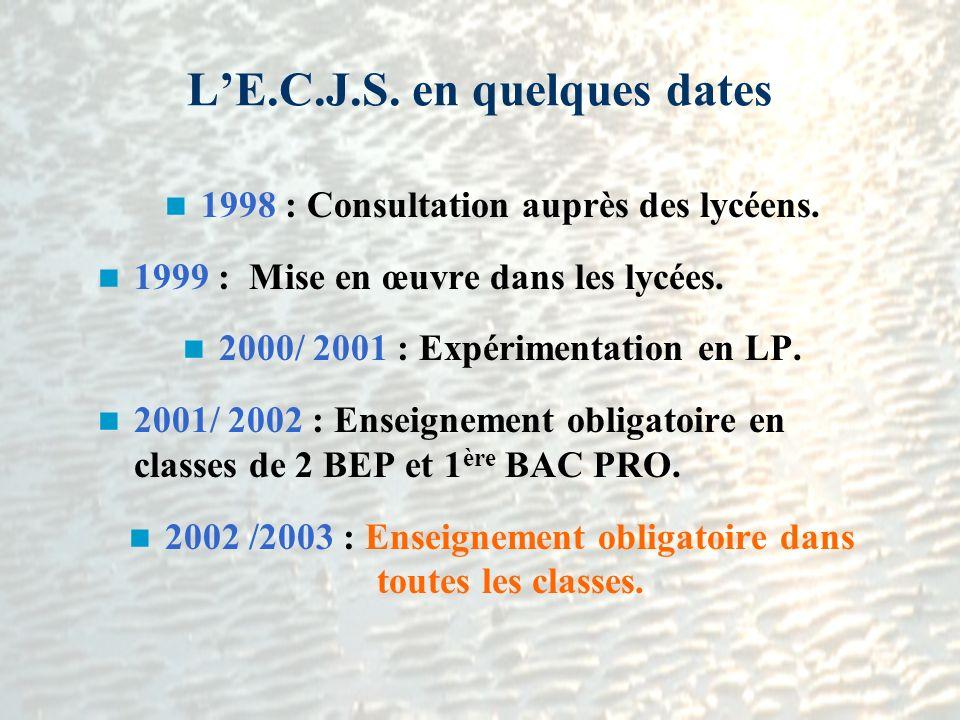 LE.C.J.S. en quelques dates 1998 : Consultation auprès des lycéens. 1999 : Mise en œuvre dans les lycées. 2000/ 2001 : Expérimentation en LP. 2001/ 20