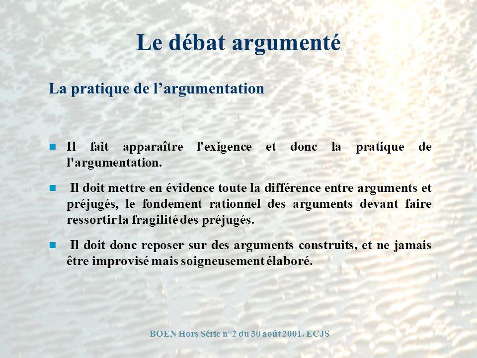 Le débat argumenté Il fait apparaître l'exigence et donc la pratique de l'argumentation. Il doit mettre en évidence toute la différence entre argument