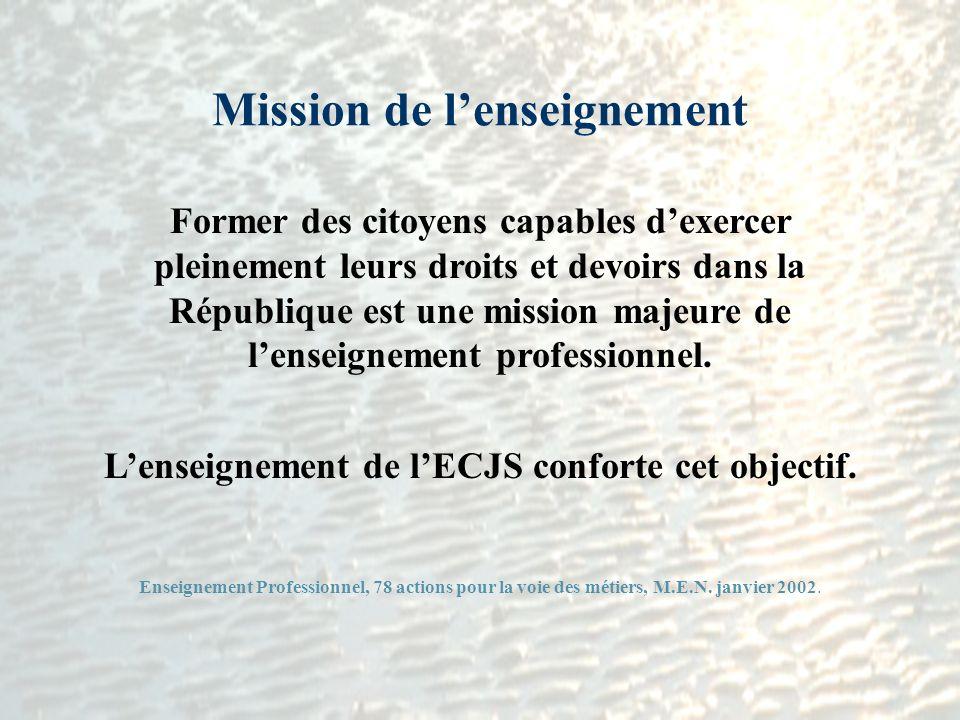 Mission de lenseignement Former des citoyens capables dexercer pleinement leurs droits et devoirs dans la République est une mission majeure de lensei