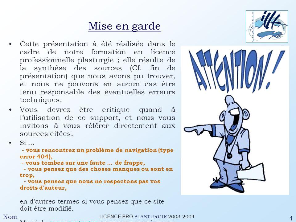 LICENCE PRO PLASTURGIE 2003-2004 Nom 2