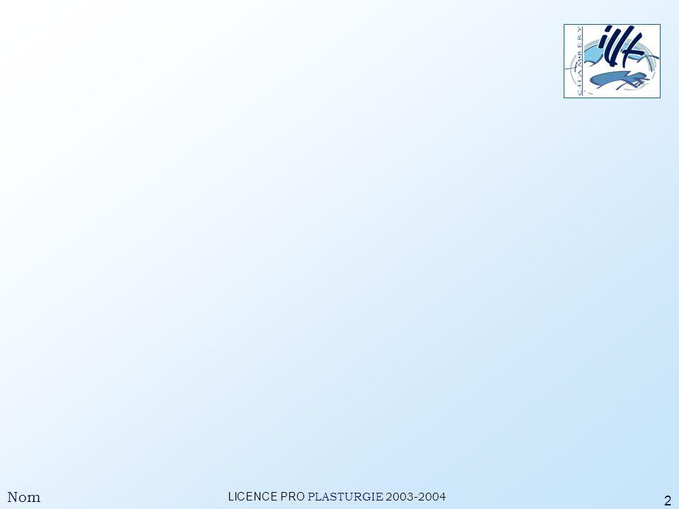 LICENCE PRO PLASTURGIE 2003-2004 Nom 3