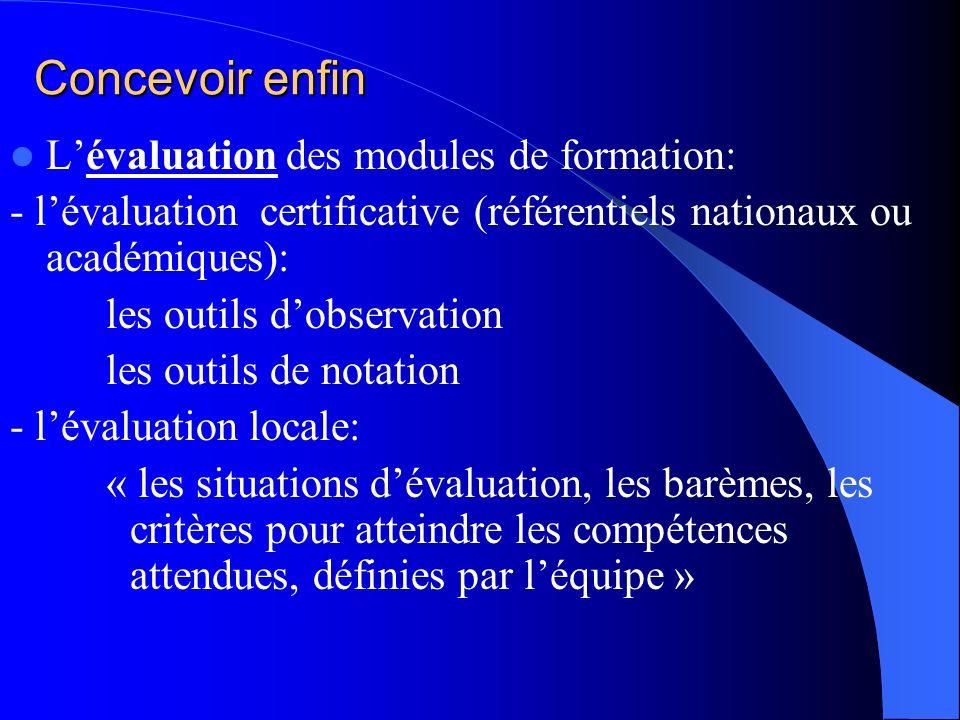 Concevoir enfin Lévaluation des modules de formation: - lévaluation certificative (référentiels nationaux ou académiques): les outils dobservation les