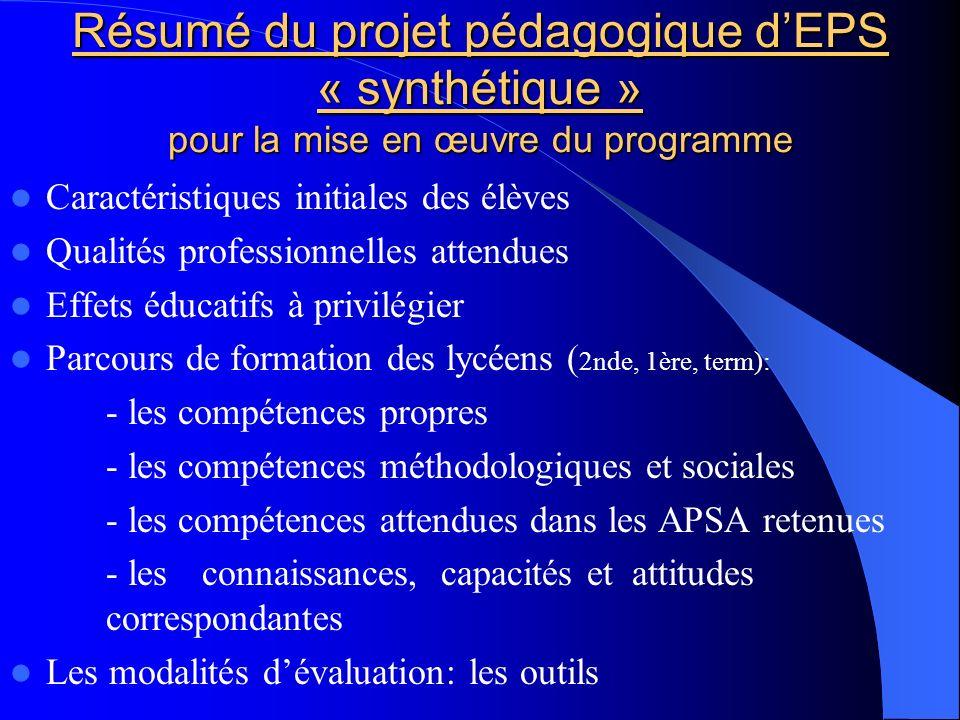 Résumé du projet pédagogique dEPS « synthétique » pour la mise en œuvre du programme Caractéristiques initiales des élèves Qualités professionnelles a