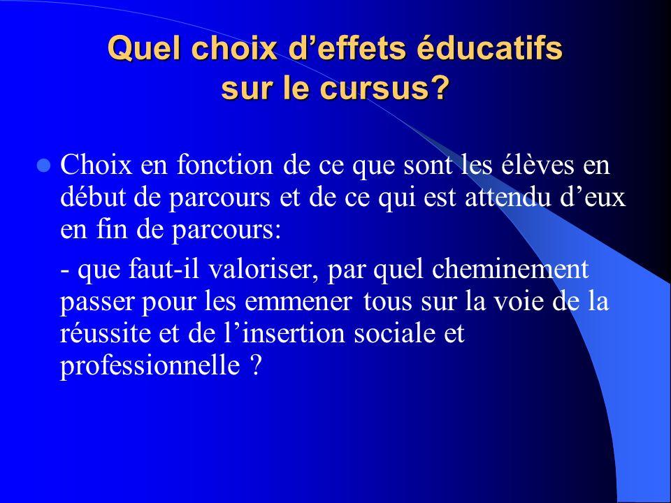 Quel choix deffets éducatifs sur le cursus? Choix en fonction de ce que sont les élèves en début de parcours et de ce qui est attendu deux en fin de p