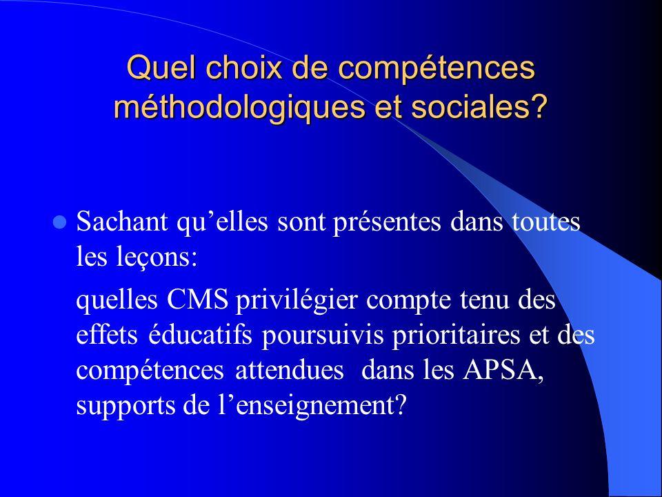 Quel choix de compétences méthodologiques et sociales? Sachant quelles sont présentes dans toutes les leçons: quelles CMS privilégier compte tenu des