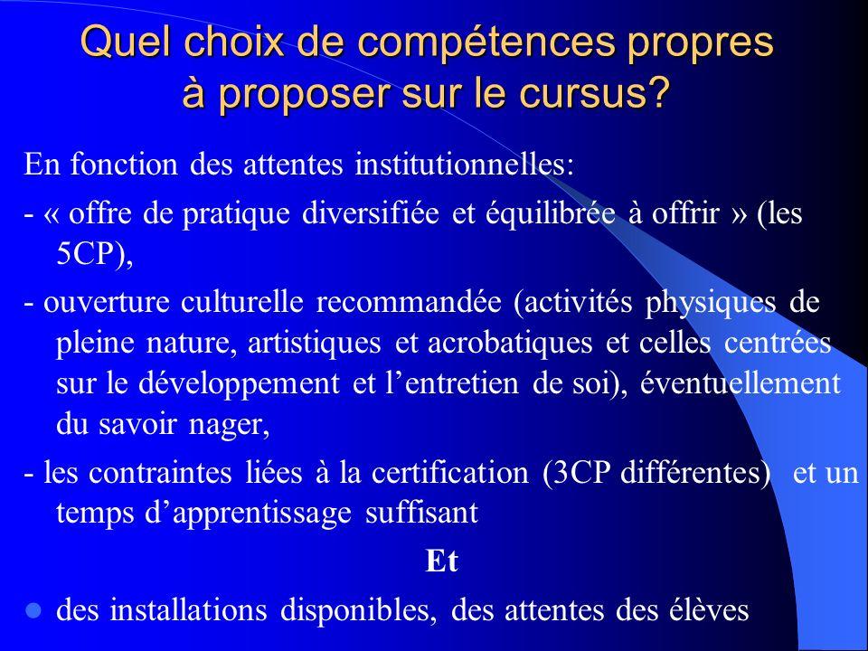 Quel choix de compétences propres à proposer sur le cursus? En fonction des attentes institutionnelles: - « offre de pratique diversifiée et équilibré