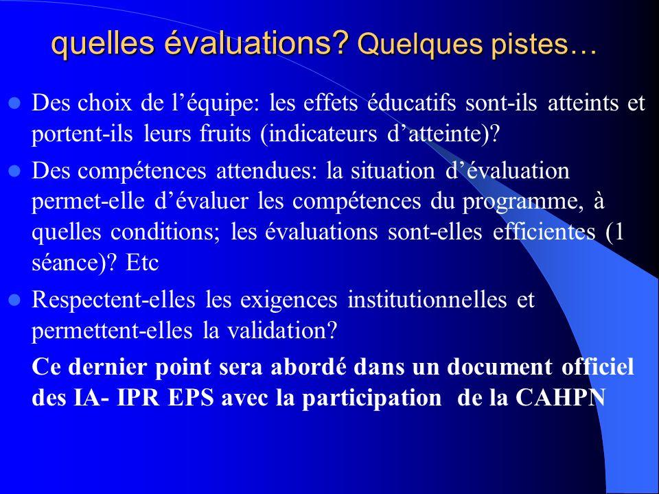 quelles évaluations? Quelques pistes… Des choix de léquipe: les effets éducatifs sont-ils atteints et portent-ils leurs fruits (indicateurs datteinte)