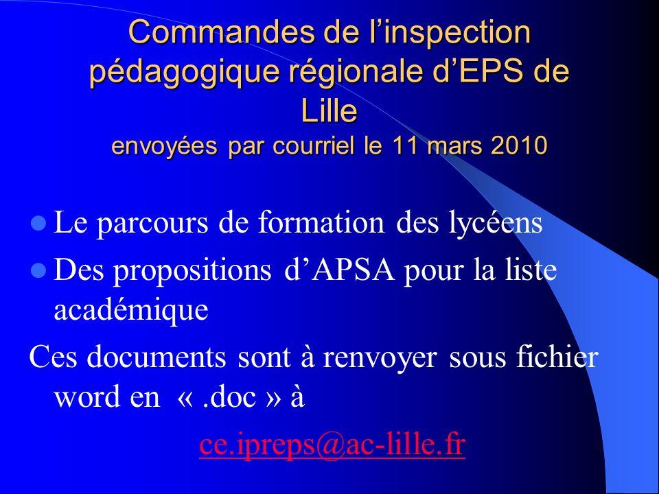Commandes de linspection pédagogique régionale dEPS de Lille envoyées par courriel le 11 mars 2010 Le parcours de formation des lycéens Des propositio