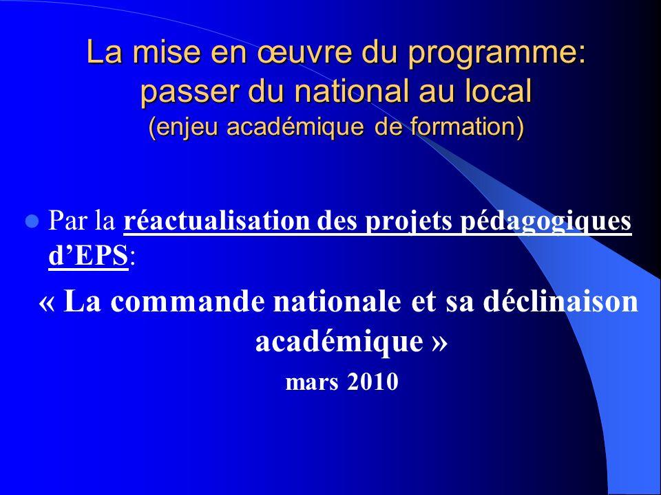 La mise en œuvre du programme: passer du national au local (enjeu académique de formation) Par la réactualisation des projets pédagogiques dEPS: « La