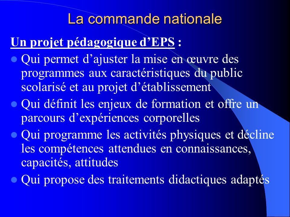 La commande nationale Un projet pédagogique dEPS : Qui permet dajuster la mise en œuvre des programmes aux caractéristiques du public scolarisé et au