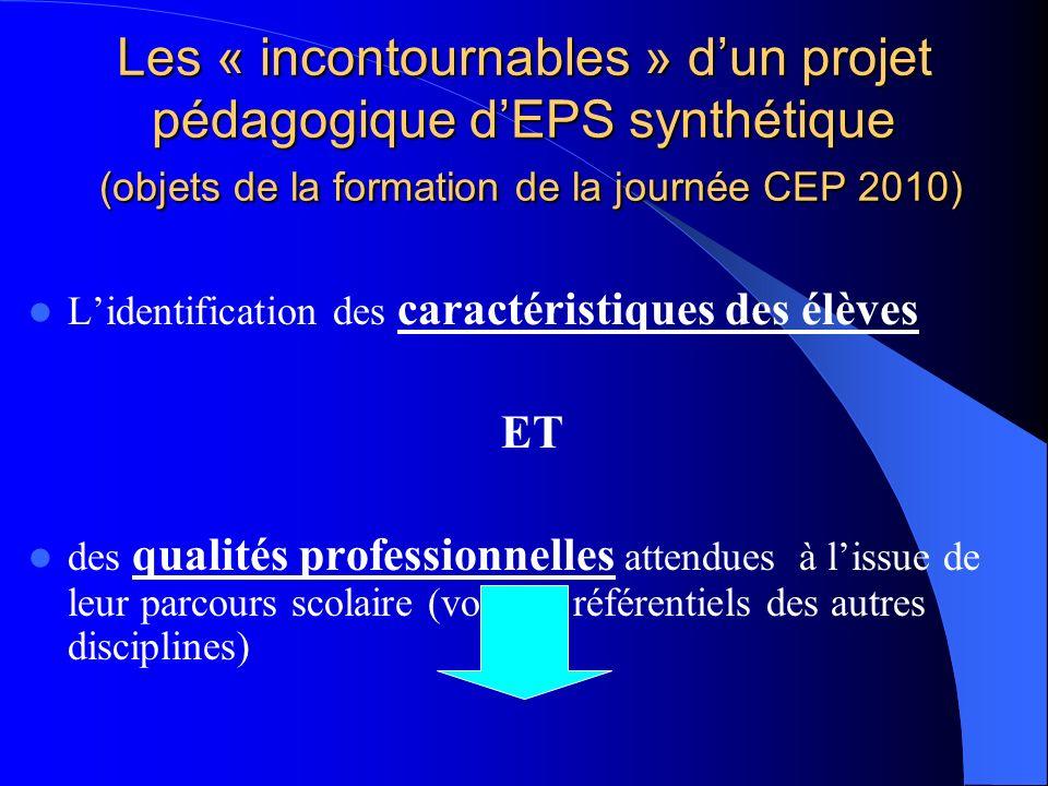 Les « incontournables » dun projet pédagogique dEPS synthétique (objets de la formation de la journée CEP 2010) Lidentification des caractéristiques d