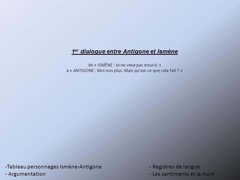 -Tableau personnages Ismène-Antigone- Registres de langue - Argumentation- Les sentiments et la mort 1 er dialogue entre Antigone et Ismène de « ISMÈN