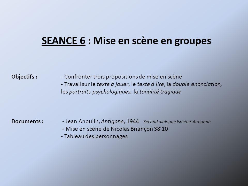 SEANCE 6 : Mise en scène en groupes Objectifs :- Confronter trois propositions de mise en scène - Travail sur le texte à jouer, le texte à lire, la do
