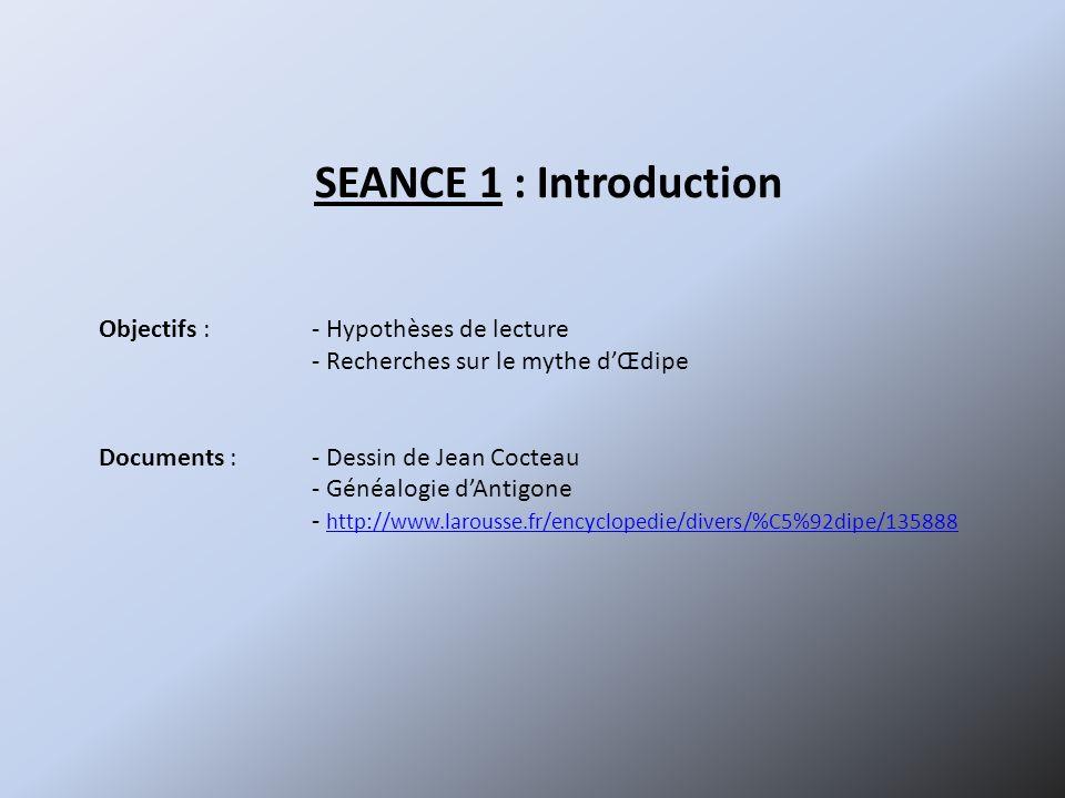 SEANCE 1 : Introduction Objectifs :- Hypothèses de lecture - Recherches sur le mythe dŒdipe Documents :- Dessin de Jean Cocteau - Généalogie dAntigone