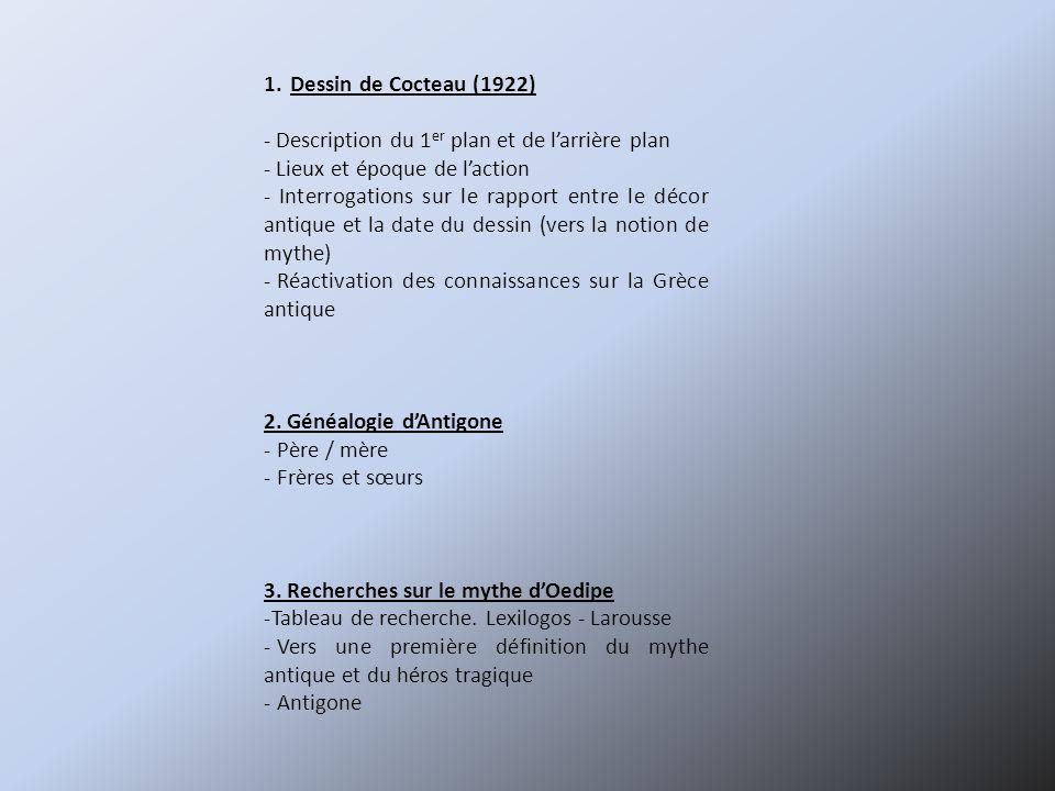 1.Dessin de Cocteau (1922) - Description du 1 er plan et de larrière plan - Lieux et époque de laction - Interrogations sur le rapport entre le décor