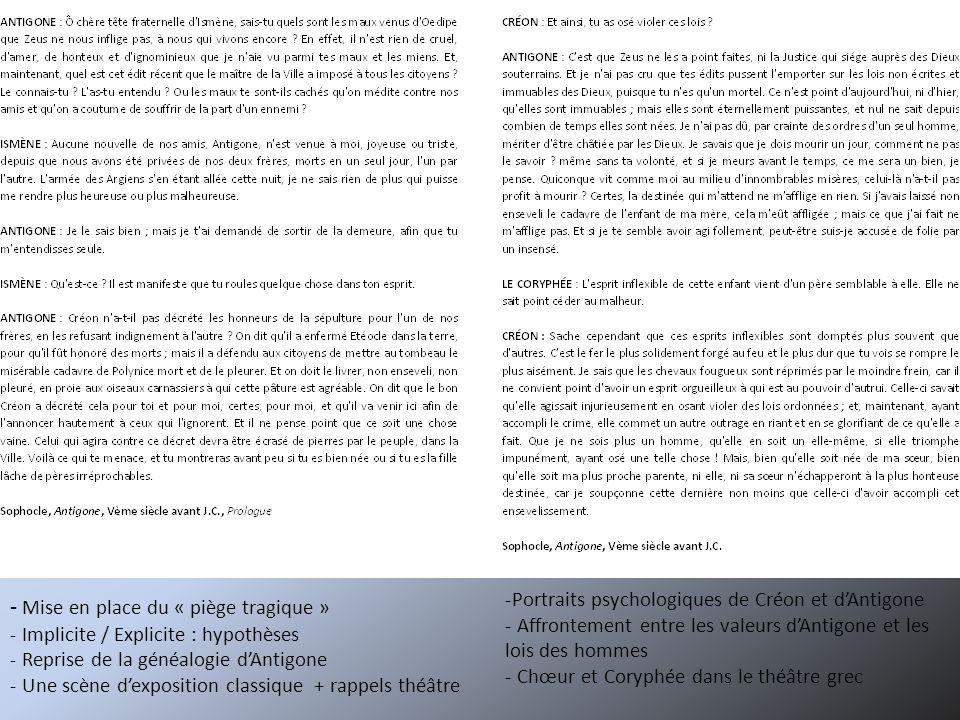 SEANCE 3 : Jean Anouilh face à Sophocle Objectifs :- Continuité et rupture avec la tragédie classique de Sophocle - Adaptation contemporaine de lœuvre dAnouilh Documents :- Mise en scène de Nicolas Briançon (2003) - Jean Anouilh, Antigone, 1944, Prologue - Tableau élève